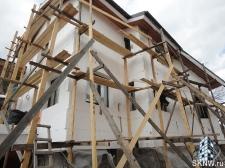 Утепление дома пенополистиролом (ППС), нанесение силикатной декоративной штукатурки Атлас