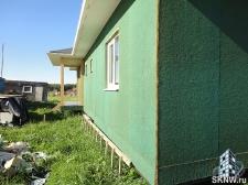Отделка каркасного дома декоративной штукатуркой Атлас по плитам Изоплат без утепления
