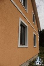 Силикатная декоративная штукатурка Атлас, утепление газобетонного дома базальтовой ватой, изготовление декоративных элементов